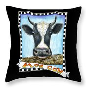 Moo Cow In Black Throw Pillow