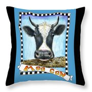Moo Cow In Blue Throw Pillow