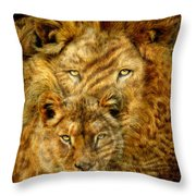 Moods Of Africa - Lions 2 Throw Pillow