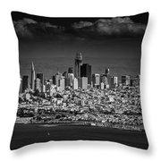Moody Black And White Photo Of San Francisco California Throw Pillow