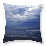 Moody Blue Beach Throw Pillow