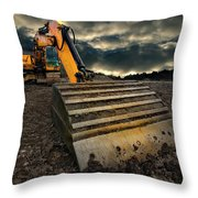 Moody Excavator Throw Pillow