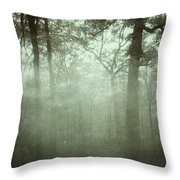 Moody Foggy Forest Throw Pillow