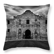 Moody Morning At The Alamo Bw Throw Pillow