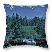 Moody Mountains Throw Pillow