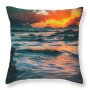 Moody Ocean Throw Pillow