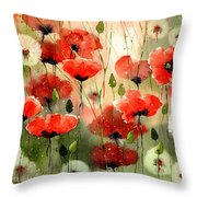 Moody Poppies In The Afternoon Throw Pillow