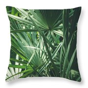 Moody Tropical Leaves Throw Pillow