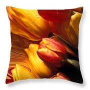 Moody Tulips Throw Pillow