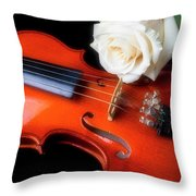 Moody Violin And Rose  Throw Pillow