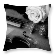 Moody Violin And Rose In Black And White Throw Pillow
