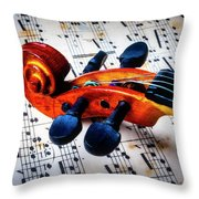 Moody Violin Scroll On Sheet Music Throw Pillow