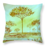 Moody Woods Throw Pillow
