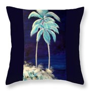 Moolight Beach Throw Pillow