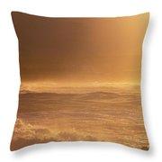 Moomomi Beach Sunset Throw Pillow
