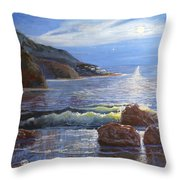 Moon Above The Olympic Peninsula Throw Pillow