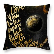 Moon And Back Stars Night Throw Pillow