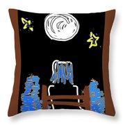 Moon And Beach Watcher On Martha's Vineyard Throw Pillow