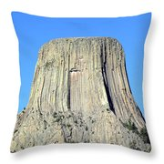 Moon And Devil's Tower National Monument, Wyoming Throw Pillow