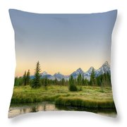 Moon And Mountains Throw Pillow