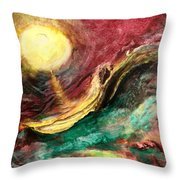 Moon And Ocean Throw Pillow