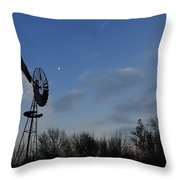 Moon And Windmill Throw Pillow