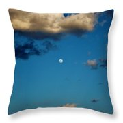 Moon Between The Clouds Throw Pillow