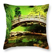 Moon Bridge At Huntington Throw Pillow