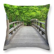 Moon Bridge In Spring Throw Pillow