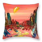 Moon City Throw Pillow