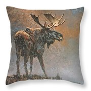 Moon Dusted Moose Throw Pillow