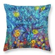 Moon Flowers Throw Pillow