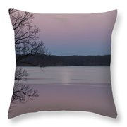 Moon In A Colorful Sky Over Kentucky Lake And Lbl A National Recreation Area Throw Pillow
