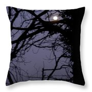 Moon In Inky Blue Sky Throw Pillow