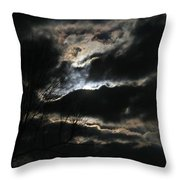 Moon In The Clouds Over Kentucky Lake Throw Pillow