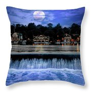 Moon Light - Boathouse Row Philadelphia Throw Pillow