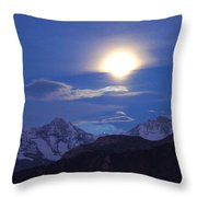 Moon Light Over The Alps Throw Pillow