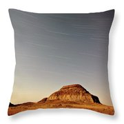 Moon Lit Castle Butte And Star Tracks In Scenic Saskatchewan Throw Pillow