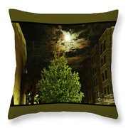 Moon On Fire Over Downtown Savannah Throw Pillow