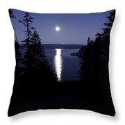 Moon On Lake Tahoe Throw Pillow