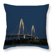 Moon Over Arthur Ravenel Jr. Bridge Throw Pillow by Ken Barrett