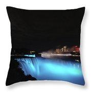 Moon Over Blue Niagara Throw Pillow
