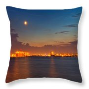 Moon Over Duluth Harbor Throw Pillow