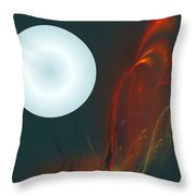 Moon Over Fire Weed Throw Pillow