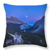 Moon Over Icefields Parkway In Alberta Throw Pillow
