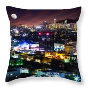 Moon Over Los Angeles Throw Pillow
