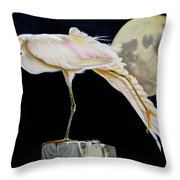 Moon Over Mississippi A Snowy Egrets Perspective Throw Pillow