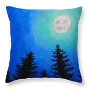 Moon Over Pines Throw Pillow