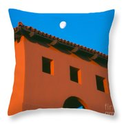 Moon Over Red Adobe Horizontal Throw Pillow