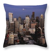Moon Over Seattle Throw Pillow